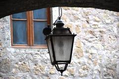 Взгляд старого уличного фонаря с черным голубем Стоковые Изображения RF