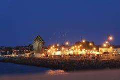 Взгляд старого Nesebar на ноче Стоковая Фотография