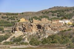 Взгляд старых домов в городке Nuevalos стоковое изображение