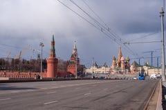 Взгляд стены Кремля стоковые фотографии rf