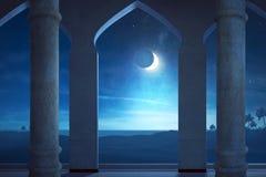 Взгляд сцены ночи с лунным светом Стоковые Изображения