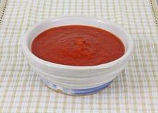 взгляд томата соуса checkered ткани свежий передний Стоковое Изображение RF