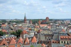 Взгляд Торун от башни ратуши. стоковые изображения