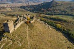 Взгляд трутня крепости Coltesti воздушный, Румыния стоковые фотографии rf