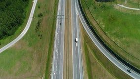 Взгляд трутня шоссе и моста акции видеоматериалы