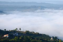 Взгляд тумана на горе на Khao Kho, Phetchabun, Таиланде Стоковая Фотография RF