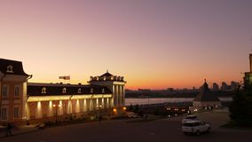 Взгляд укладки в форме вечера к Казани Кремлю России сток-видео