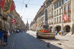 Взгляд улицы в городе Bern Стоковое Фото