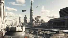 взгляд улицы города будущий бесплатная иллюстрация