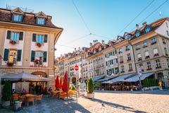 Взгляд улицы городка Bern старый в Швейцарии Стоковые Изображения RF