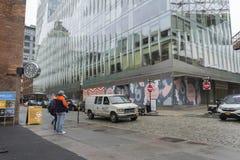 Взгляд улицы района DUMBO в Бруклине в Нью-Йорке, США стоковые фото
