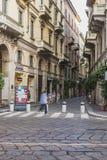 Взгляд улицы центра города Милана Стоковое фото RF