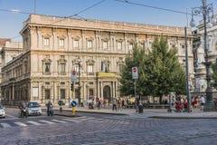 Взгляд улицы центра города Милана Стоковое Изображение