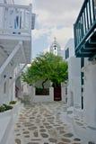 Взгляд улицы Chora в Mykonos с белыми внешними зданиями и красивым деревом стоковое фото