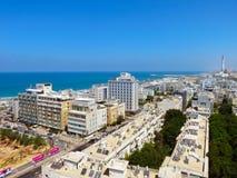 Взгляд улиц Тель-Авив Туристическая достопримечательность города Лето 2018 стоковая фотография