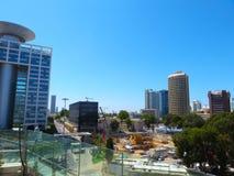 Взгляд улиц Тель-Авив Туристическая достопримечательность города Лето 2018 стоковые изображения