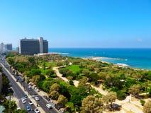 Взгляд улиц Тель-Авив Туристическая достопримечательность города Лето 2018 стоковое фото rf