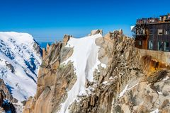 Взгляд утеса Aiguille du Midi, Монблана, Франции, bea Стоковое фото RF