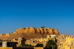 Взгляд утра форта Jaisalmer, золотого города, Rajastan, Индии Стоковые Фотографии RF