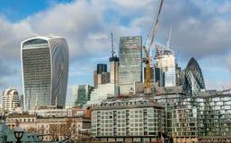 Взгляд финансовых небоскребов района города Лондона, Стоковая Фотография RF