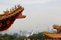 Взгляд формы города Куалаа-Лумпур висок Thean Hou Стоковое фото RF