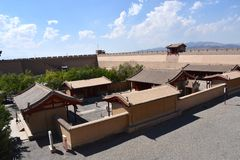Взгляд форта Jiayuguan, Китай стоковое изображение