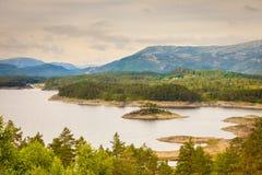 Взгляд фьорда около Бергена в Норвегии Стоковое Фото
