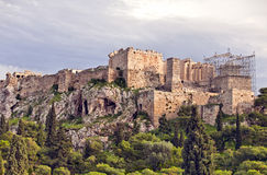 взгляд холма athens акрополя панорамный стоковые изображения rf
