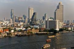 Взгляд части города Бангкока, в конце после полудня стоковая фотография rf