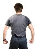 взгляд человека задней стороны сильный стоковое изображение rf