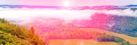 Взгляд через сильный туман на долине в Ural стоковое фото rf