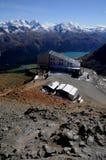 Взгляд швейцарских горных вершин панорамный от вершины Piz Nair Стоковая Фотография RF