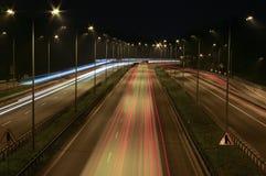 Взгляд шоссе на ноче Стоковые Изображения