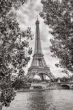 Взгляд Эйфелева башни на Реке Сена в Париже, Франции Чернота и whi Стоковое Фото