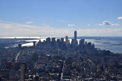 Взгляд южного Манхаттана включая область Уолл-Стрита от Имперского штата Bldg Стоковые Фотографии RF