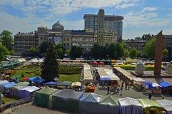 Взгляд ярмарок на городской площади Стоковые Изображения
