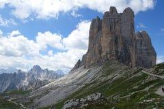 Взгляд Cime Tre на доломитах наследия ЮНЕСКО гор стоковые изображения