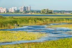 Взгляд Dnieper в потоке под городом Киева, Украины Стоковые Фотографии RF