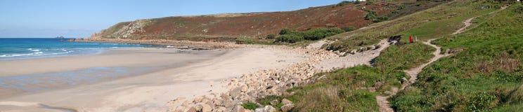 взгляд gwynver cornwall пляжа панорамный стоковое фото rf