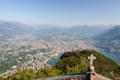 Взгляд lugano-Швейцарии Стоковые Изображения