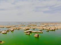 Взгляд midair парка Yardan национального геологохимического, Ганьсу, Китая Yardang было создано с течением времени мягкой частью  стоковая фотография rf