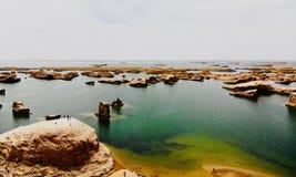 Взгляд midair парка Yardan национального геологохимического, Цинхая, Китая Yardang было создано с течением времени мягкой частью  стоковая фотография