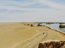 Взгляд midair парка Yardan национального геологохимического, Цинхая, Китая Yardang было создано с течением времени мягкой частью  стоковое фото