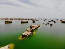 Взгляд midair парка Yardan национального геологохимического, Цинхая, Китая Yardang было создано с течением времени мягкой частью  стоковая фотография rf