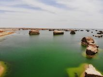 Взгляд midair парка Yardan национального геологохимического, Цинхая, Китая Yardang было создано с течением времени мягкой частью  стоковое изображение rf