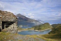 взгляд mont озера cenis Стоковая Фотография RF