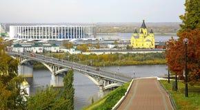 Взгляд Nizhny Novgorod от обваловки Стоковая Фотография