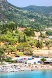 взгляд paleokastritsa залива панорамный стоковые фотографии rf