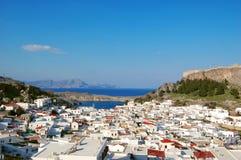 взгляд rhodes lindou острова Греции залива Стоковые Изображения