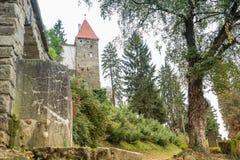 Взгляд Roofers возвышается от старого кладбища в замке в старом городе Город Sighisoara в Румынии Стоковая Фотография RF